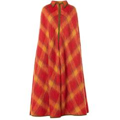 Lanvin haute couture orange tartan cape, circa 1968
