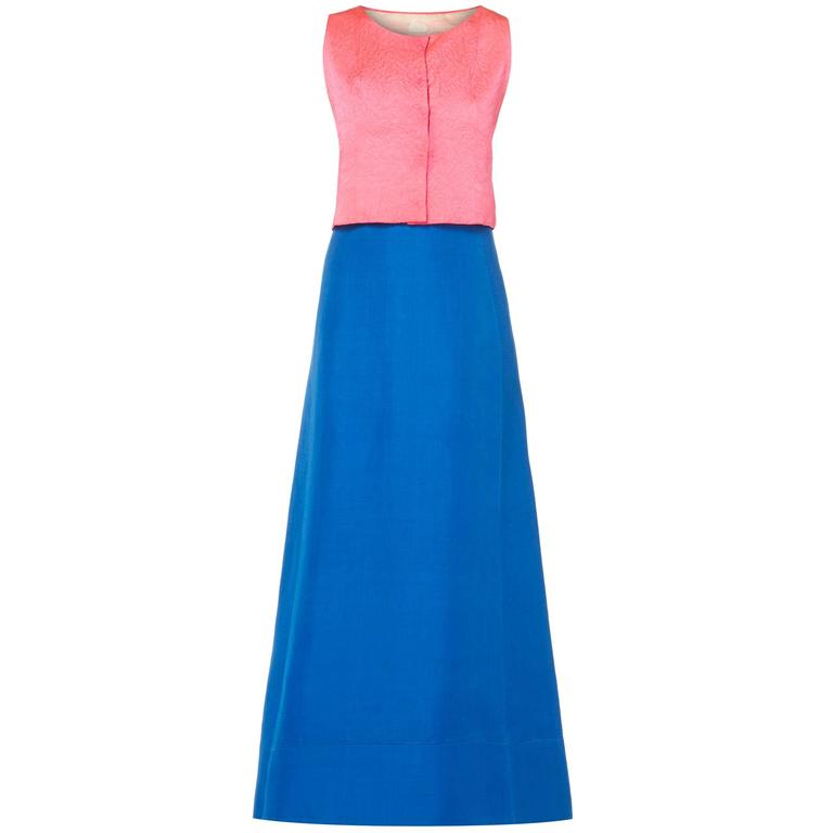 Balenciaga pink top with blue skirt, circa 1968 For Sale
