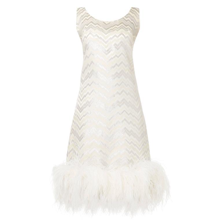 Joseph Magnin white feather dress, circa 1965 For Sale