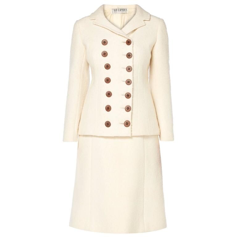 Ted Lapidus ivory skirt suit, circa 1965 For Sale
