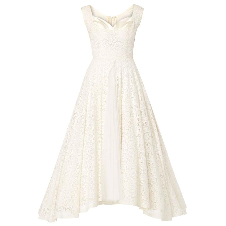 Jean Patou Haute couture ivory dress, circa 1950 For Sale