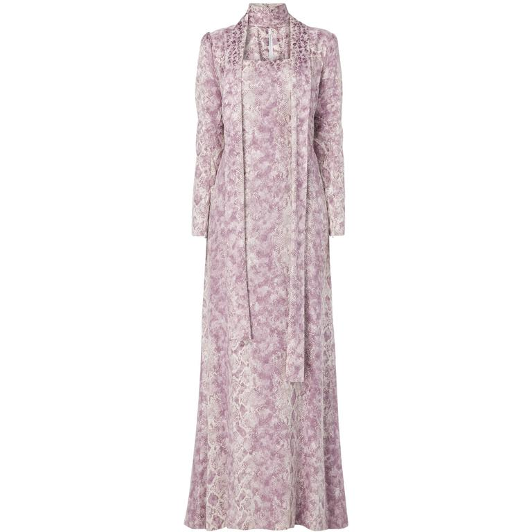 Yves Saint Laurent Haute Couture purple printed dress, Spring/Summer 1970 For Sale