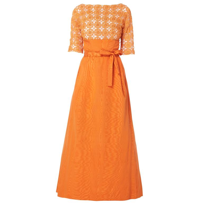 Sybil Connolly orange top and skirt, circa 1958 For Sale