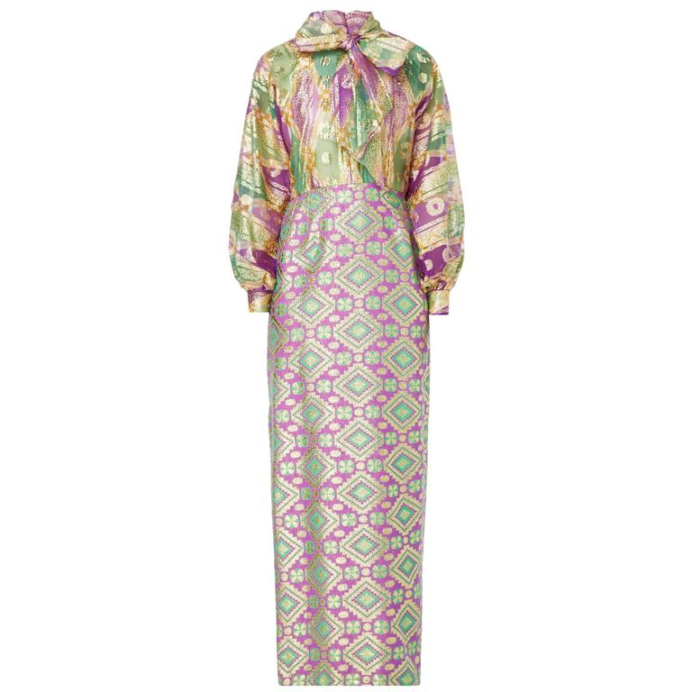 Oscar de la Renta purple and green lurex dress, circa 1968 1