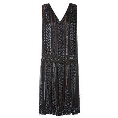 Great Unknown black silk flapper dress, circa 1928