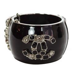 Chanel Black Enamel & Crystal CC Cuff Bracelet
