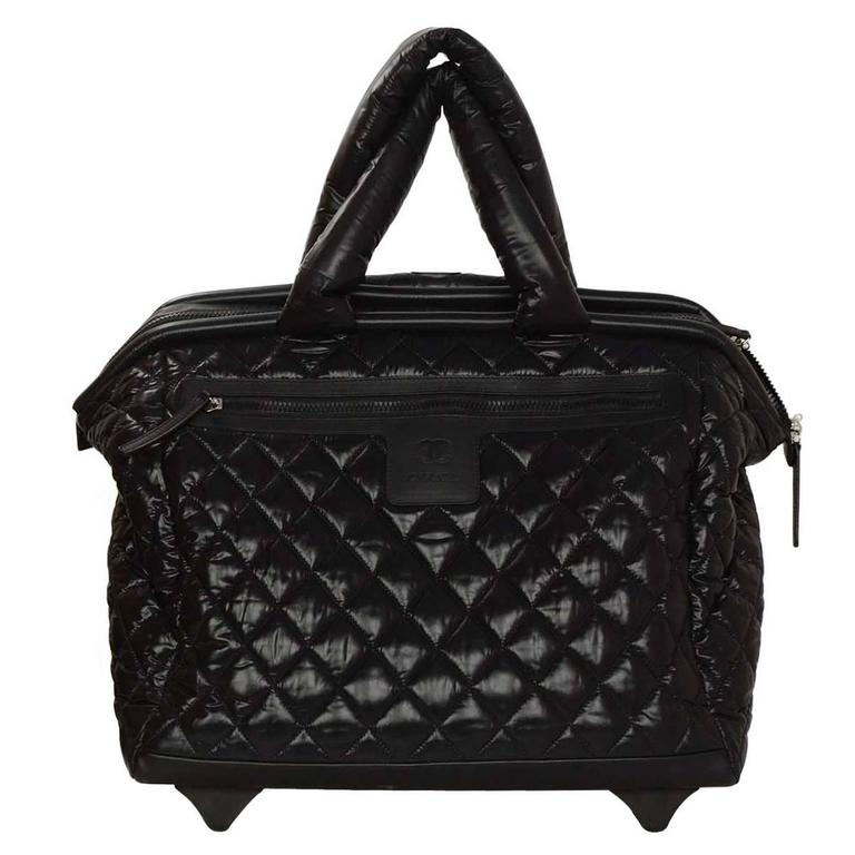 24523081c22e Chanel Black Coco Cocoon Quilted Trolley Luggage Wheely at 1stdibs