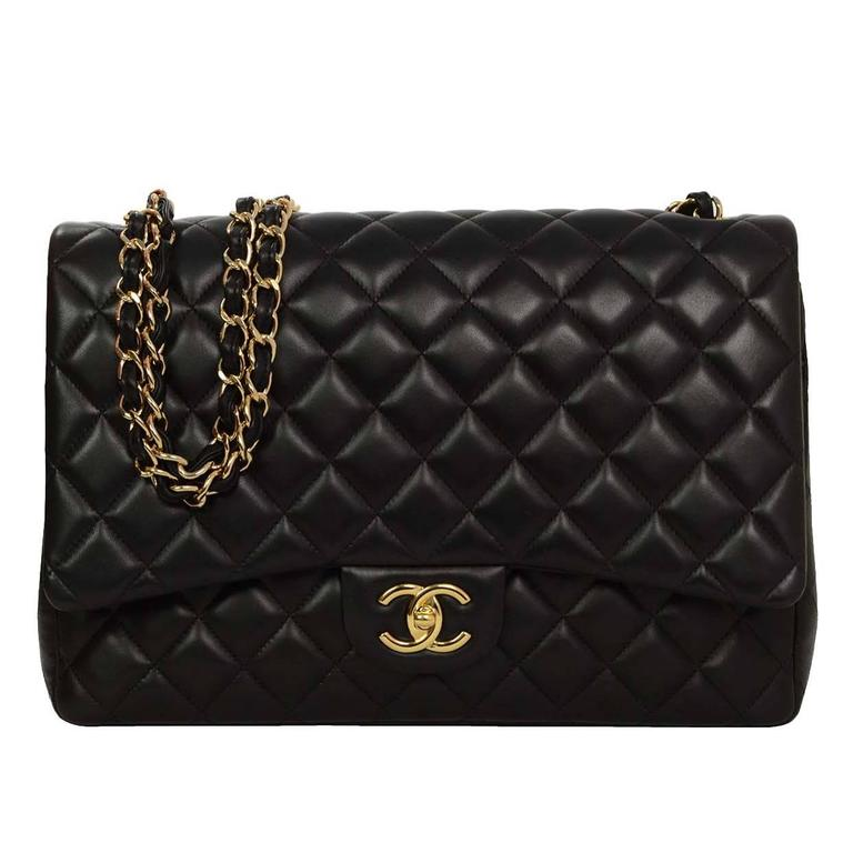 eb98c983abdd Chanel Black Quilted Lambskin Maxi Classic Double Flap Bag GHW For Sale