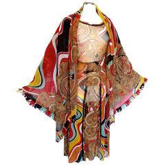 Jean Paul Gaultier 3 Piece Ensemble Sheer Mesh Top + Skirt + 62in Fringed Scarf