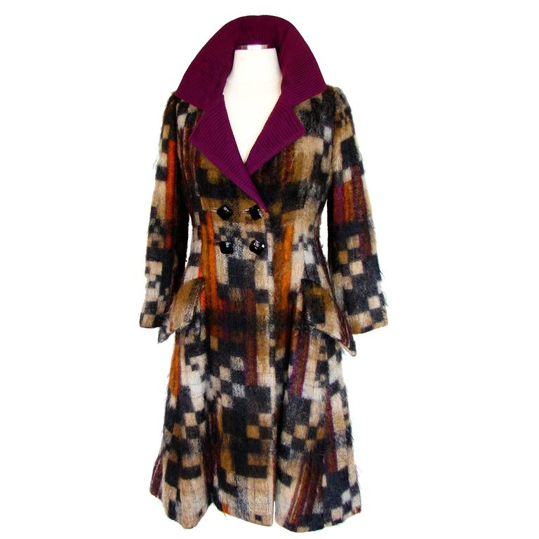 Rare Ronald Amey Coat Tzaims Luksus Mohair Attr. + Silk Collar 1970s Sz 6 1