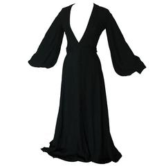 Ossie Clark Quorum Black Open Back Long Dress with Wrap Ties Rare Cuddle 70s S