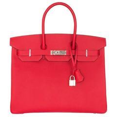 Brand New Hermès Birkin Rouge Casaque Epsom 35 PHW