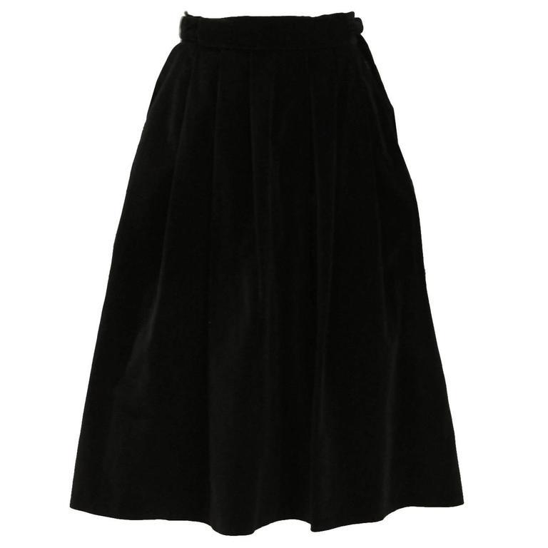 Vintage 1970s Christian Dior Black Velvet Skirt 1