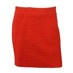 Chanel Red Wool Boucle Skirt sz 46