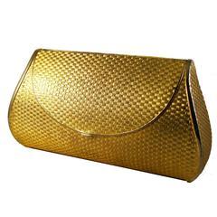 Opulent Harry Rosenfeld Gilt Metal Basket Weave Clutch Evening Bag Purse 1960s