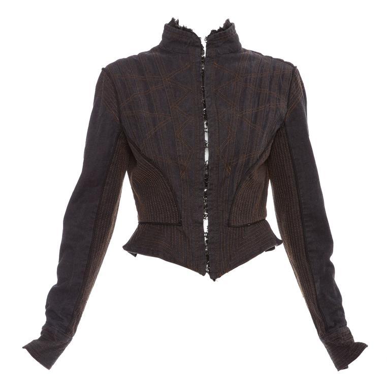 Alexander McQueen Blue Cotton Denim Jacket Brown Geometric Stitching, Circa 2007 1