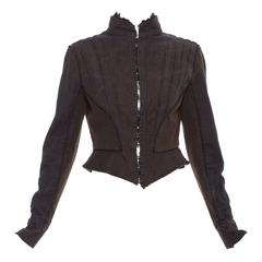 Alexander McQueen Blue Cotton Denim Jacket Brown Geometric Stitching, Circa 2007