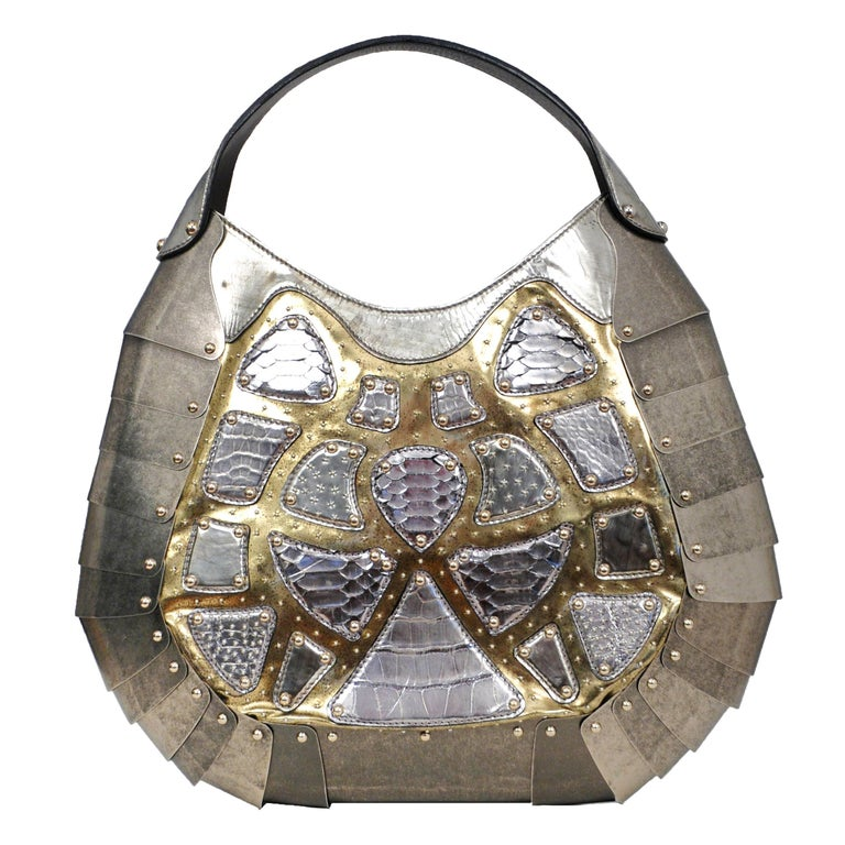 Massive One of a Kind Alexander McQueen Silver Exotic Skins & Metal Bag 2007 For Sale