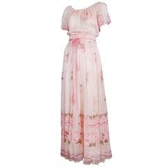 Valentino Haute Couture Floral Print Silk Chiffon Blouse & Skirt Ensemble