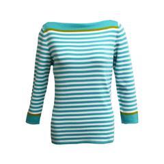Loro  Piana Striped Knit Three Quarter Sleeve Blouse