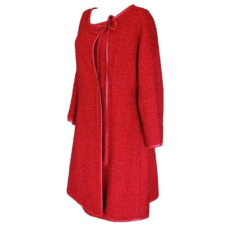 Bonnie Cashin Jacket and Skirt Set 2pc Cherry Boucle Wool Leather Trim 60s S