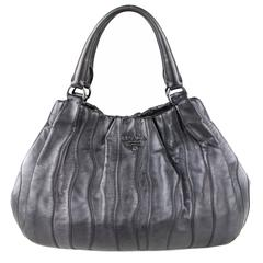 Prada Metallic Pewter Hobo Bag
