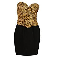 Yellow & Black Vicky Tiel Strapless Mini Dress