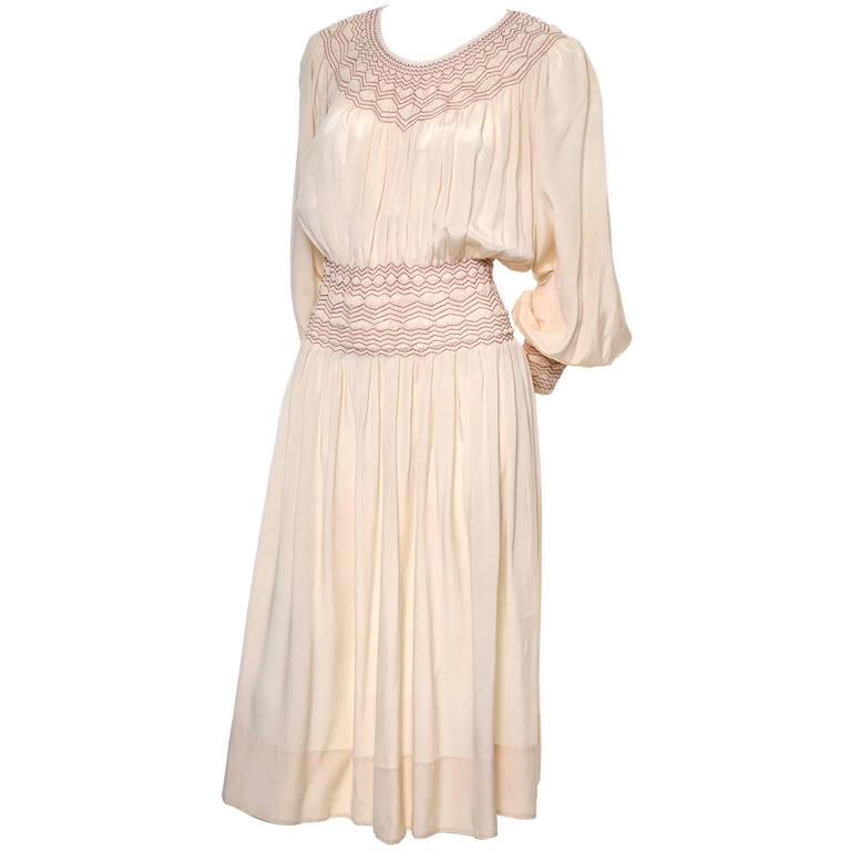 1920s Bohemian Silk Embroidered Vintage Dress Smock Pleating Peasant  For Sale