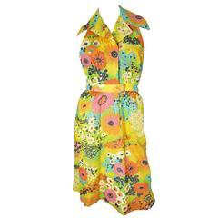 1970s Pauline Trigere Floral Halter Dress - sale