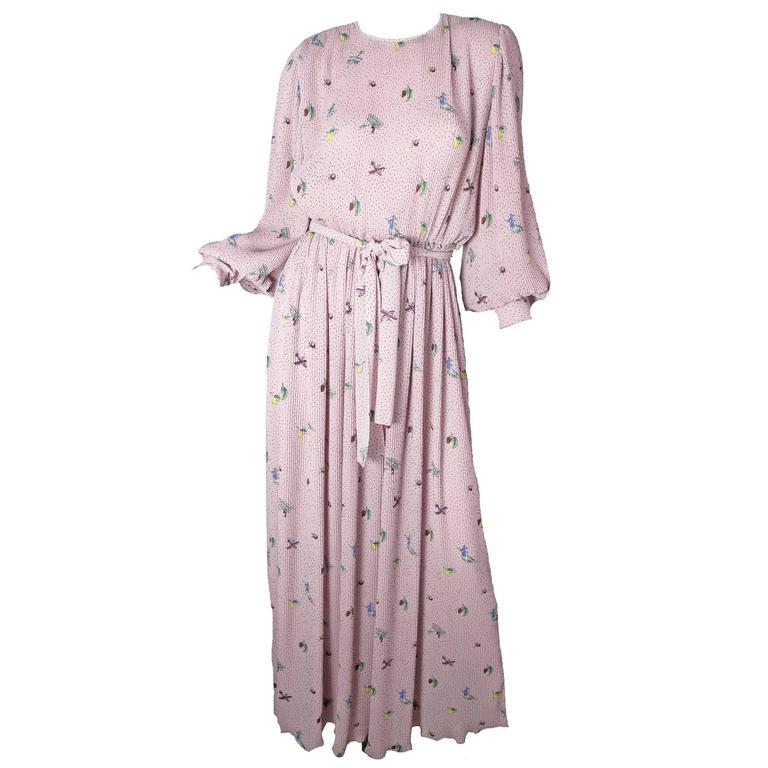 Hanae Mori Pleated Gown with Witch, Fruit & Airplane Print For Sale