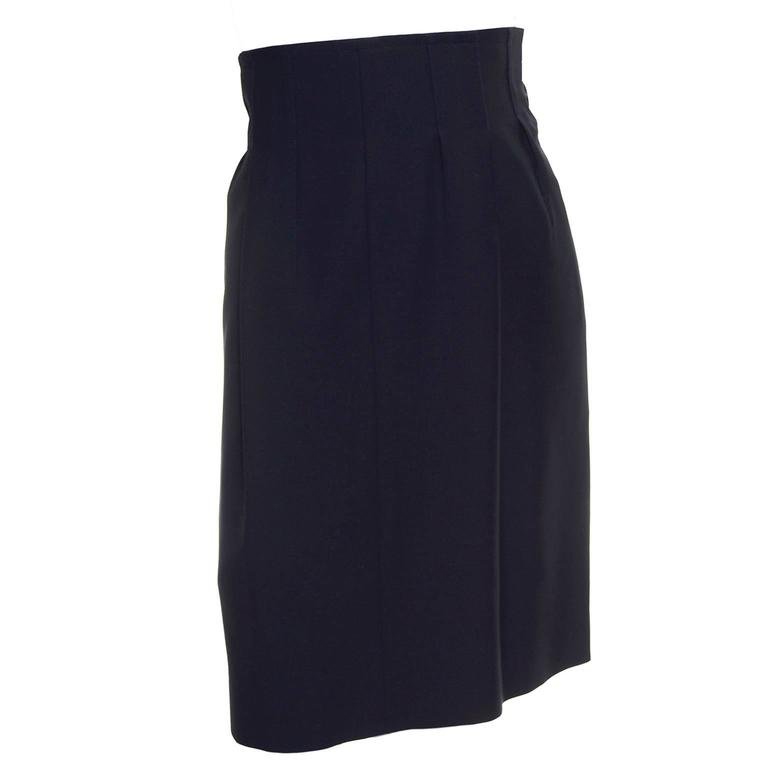 1990s High Waisted YSL Vintage Black Wool Skirt Yves Saint Laurent Rive Gauche For Sale