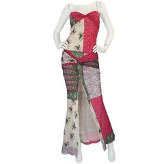 """1990s Galliano for Christian Dior Pink Silk """"Patchwork"""" Dress"""
