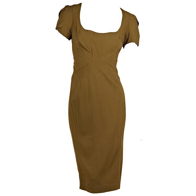 Gold Zac Posen Sheath Dress