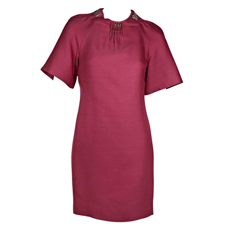 Pink Versace Silk & Wool Shift Dress