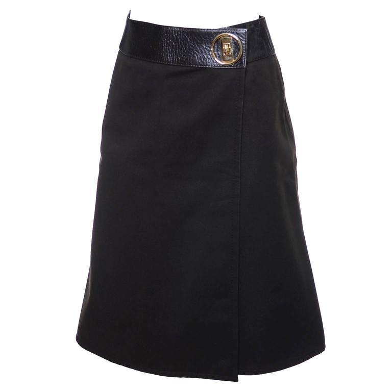 1970s Vintage Celine Skirt Paris Brown With Leather Trim & Gold Buckle For Sale