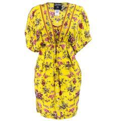 1990s Jean Paul Gaultier Yellow Silk Bouquet Babydoll Dress with Jacket