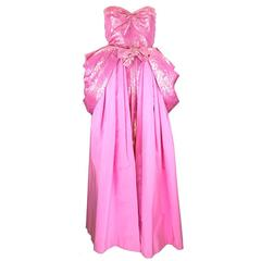 1980s Nina Ricci Bubblegum Pink and Gold Lame Jumpsuit with Ballskirt