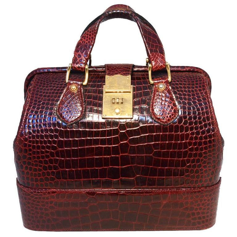 b9e8c84cd30 Rare Vintage GUCCI Dark Red Alligator XL Doctor Bag Tote For Sale at ...
