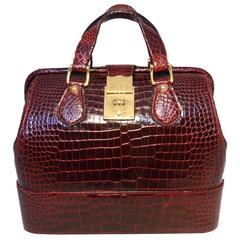Rare Vintage GUCCI Dark Red Alligator XL Doctor Bag Tote