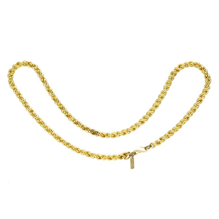 f6ab79a2a36 1980's Yves Saint Laurent YSL Twisted Rope Chain Necklace For Sale ...