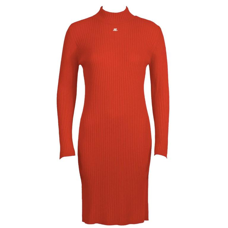1980's 2nd Gen Courreges Neon Red Knit Sweater Dress