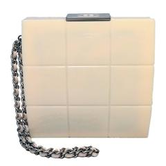 RARE Chanel Cream Resin Box Clutch Wristlet