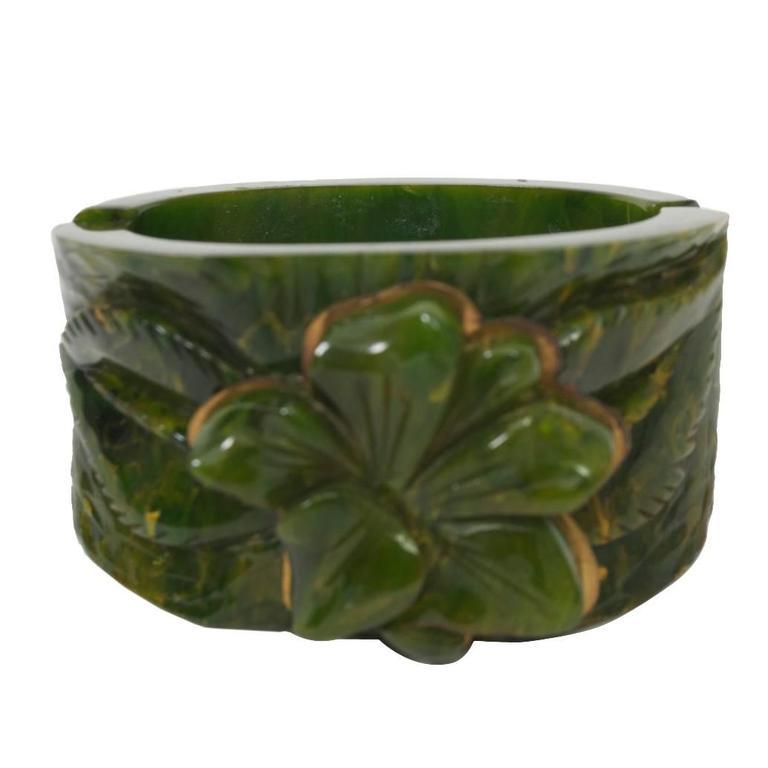 Bakelite Green Hinged Bangle For Sale
