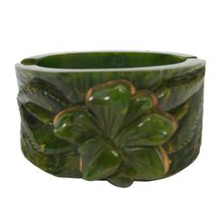 Bakelite Green Hinged Bangle