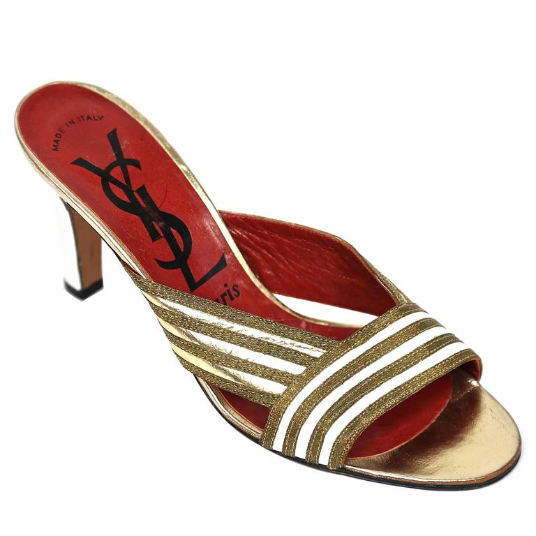 new 1970's YVES SAINT LAURENT gold leather heels - size 6.5 For Sale