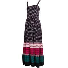 1970's Lanvin Haute Couture Floral Print Day Dress w/Grosgrain Ribbon Hem