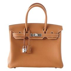 Hermes Birkin 30 Bag Coveted Classic Gold Togo Leather Palladium