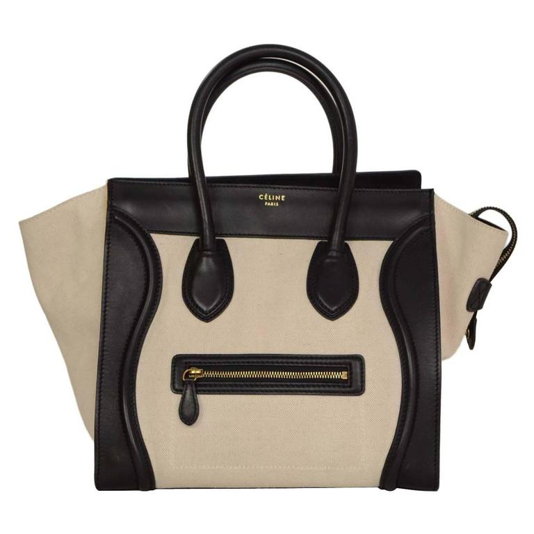 Celine Ivory & Black Canvas/Leather Mini Luggage Tote Bag GHW 1