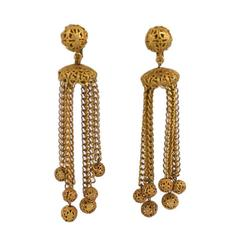 Miriam Haskell Filigree Ball Long Runway Earrings