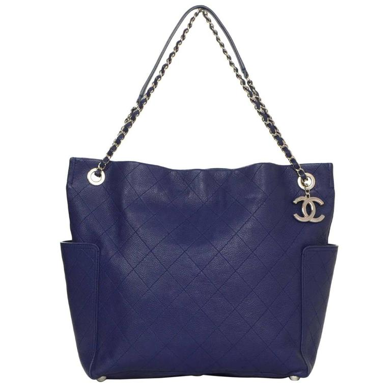 Chanel Royal Blue Caviar Quilted Medium CC Pocket Tote Bag SHW For Sale 3dbb49a7976f4